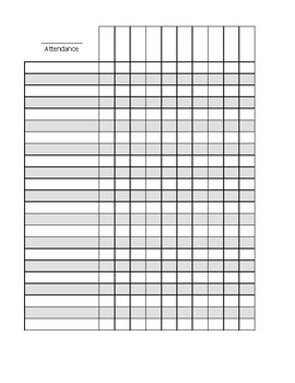 Blank Attendance Sheet by Crafty Aquarius Design | TpT