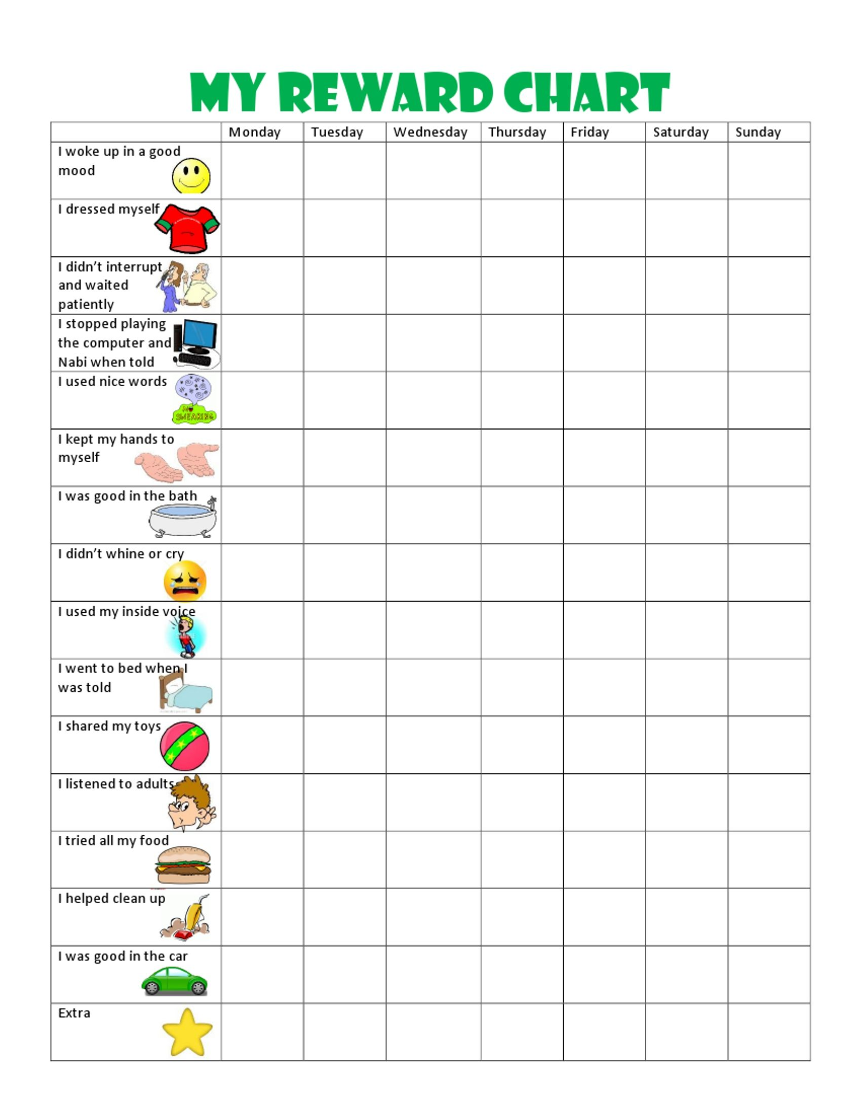 Image result for free printable behavior charts for 6 year olds