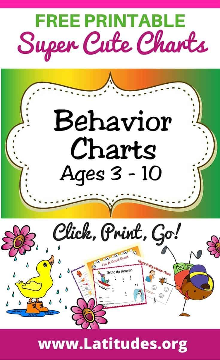 FREE Printable Behavior Charts (Ages 3 10) | ACN Latitudes