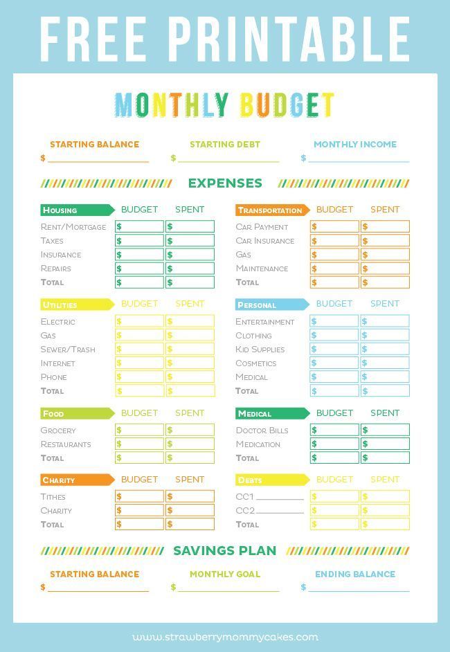 FREE Printable Budget Sheet | Refinance I Credit Card Debt