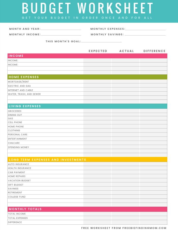 FREE Printable Household Budget Worksheet – Excel & PDF Versions