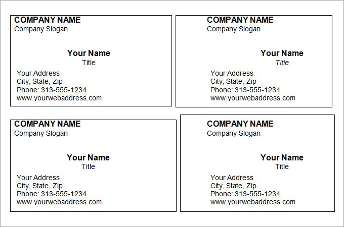 Printable Business Cards Blank Business Card Template Business