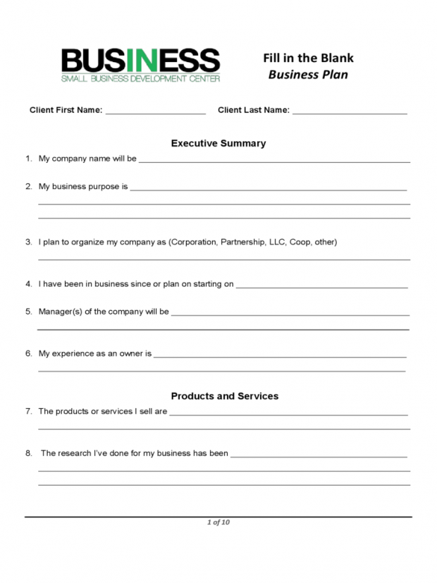 Printable Business Plan Template Uk   Boisefrycopdx.com