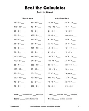 Beat the Calculator   Printable Division Problems and Activities