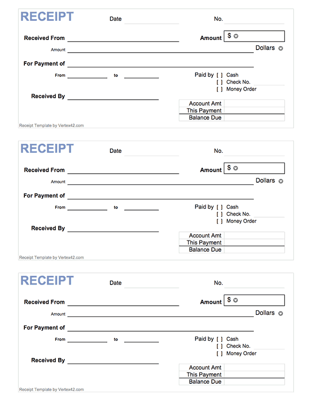 Free printable Cash Receipt Form (PDF) from Vertex42.| Home