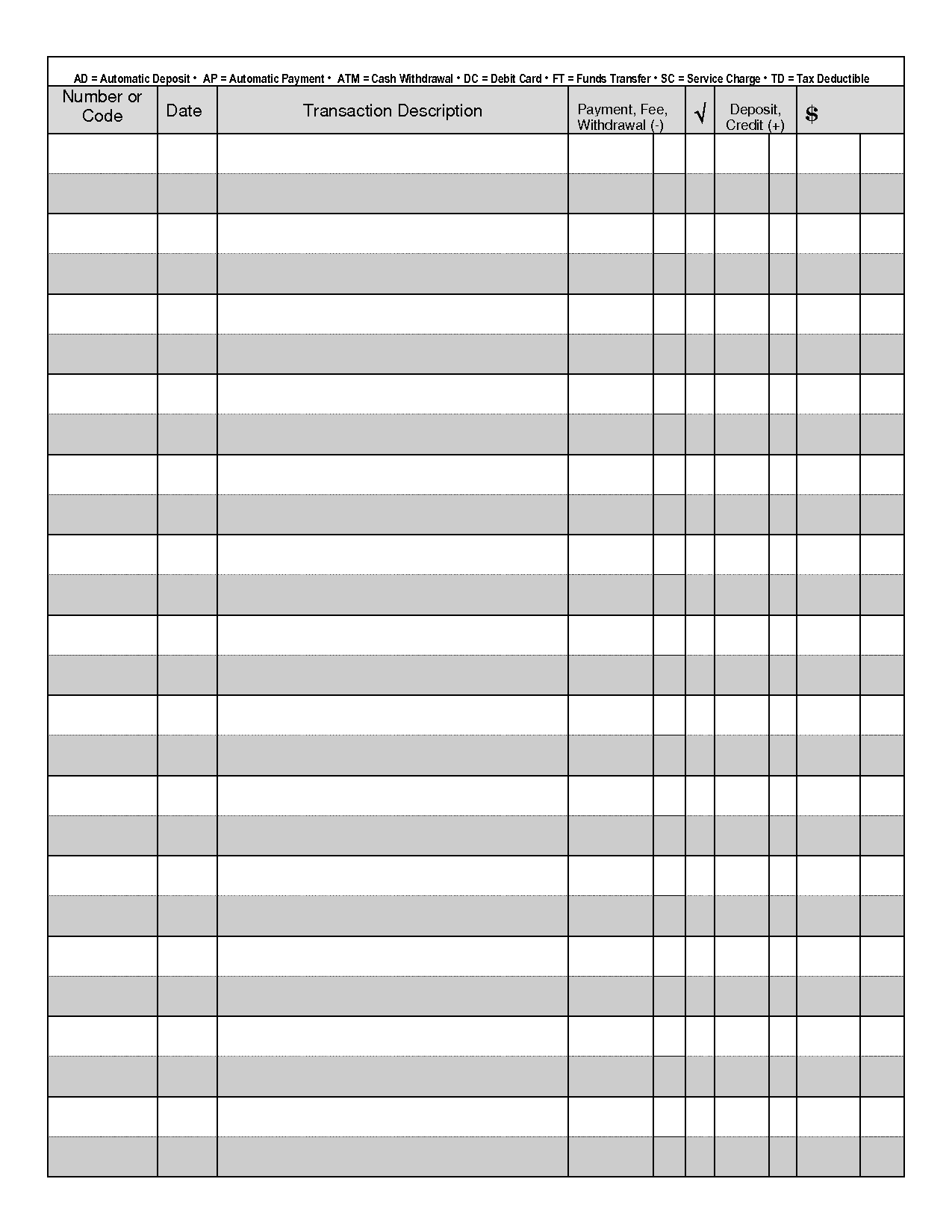 Printable Check Registers | Business Mentor