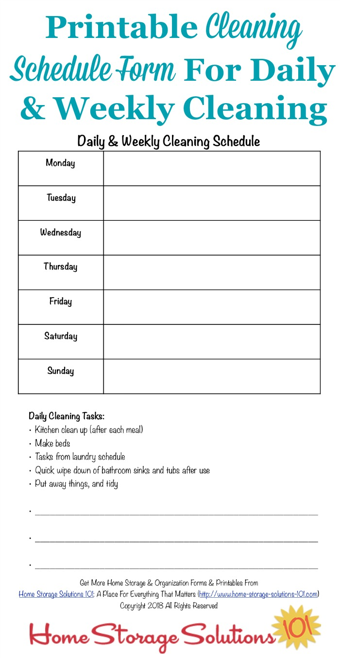 Printable Cleaning Schedule Form For Daily & Weekly Cleaning
