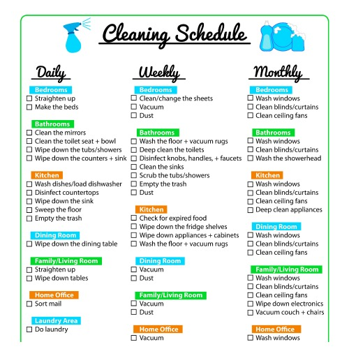 Keep Your Home Clean with a Printable Cleaning Schedule