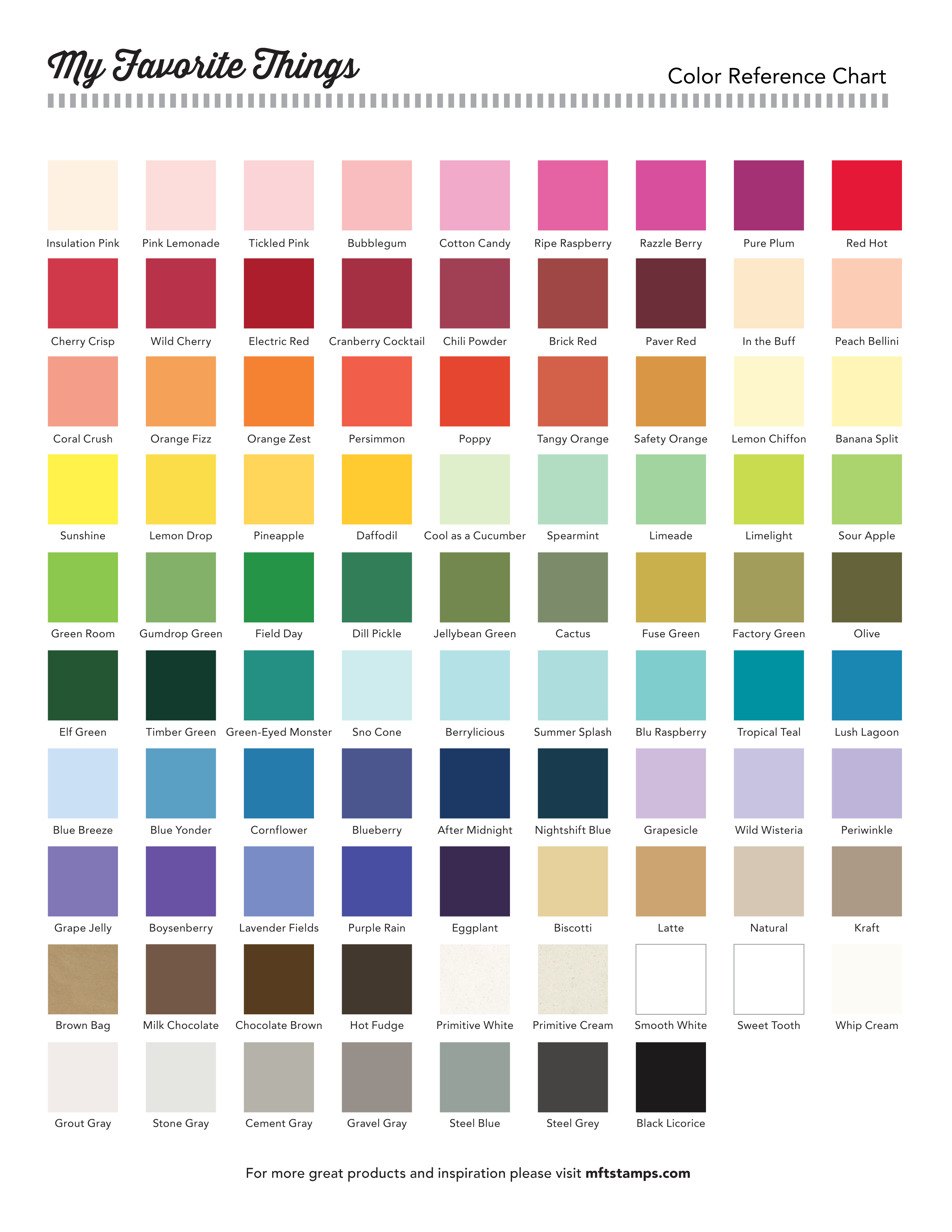 Printable Color Chart
