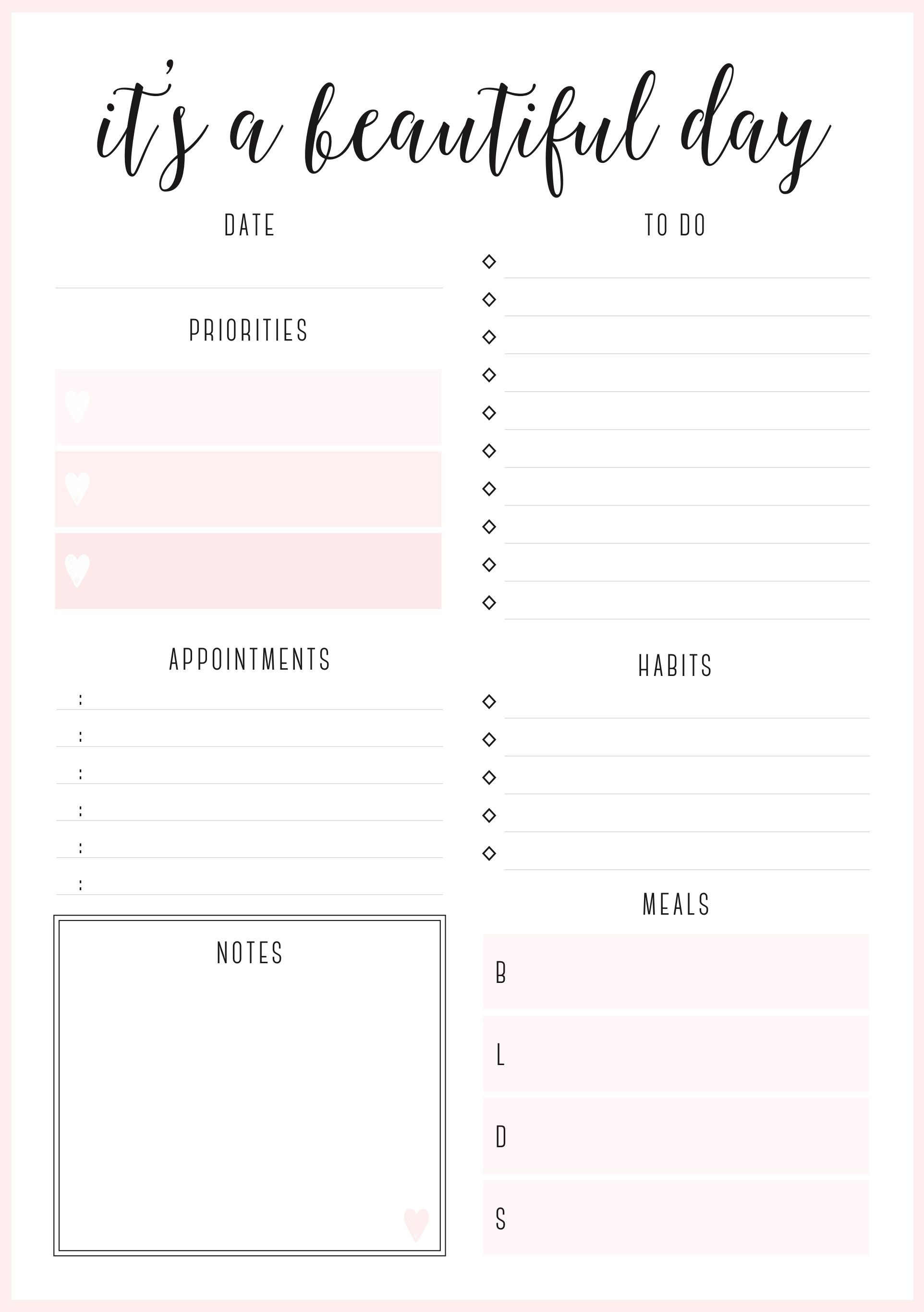 Beautiful daily planners   FREE printables | PLANNER PAGES
