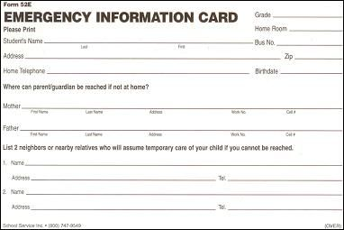 Printable Emergency Contact Cards | School Emergency Card Template