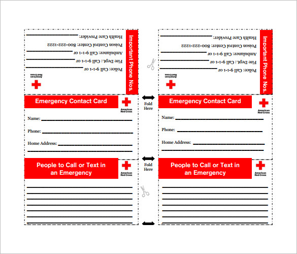Printable Emergency Contact Card Room Surf Com
