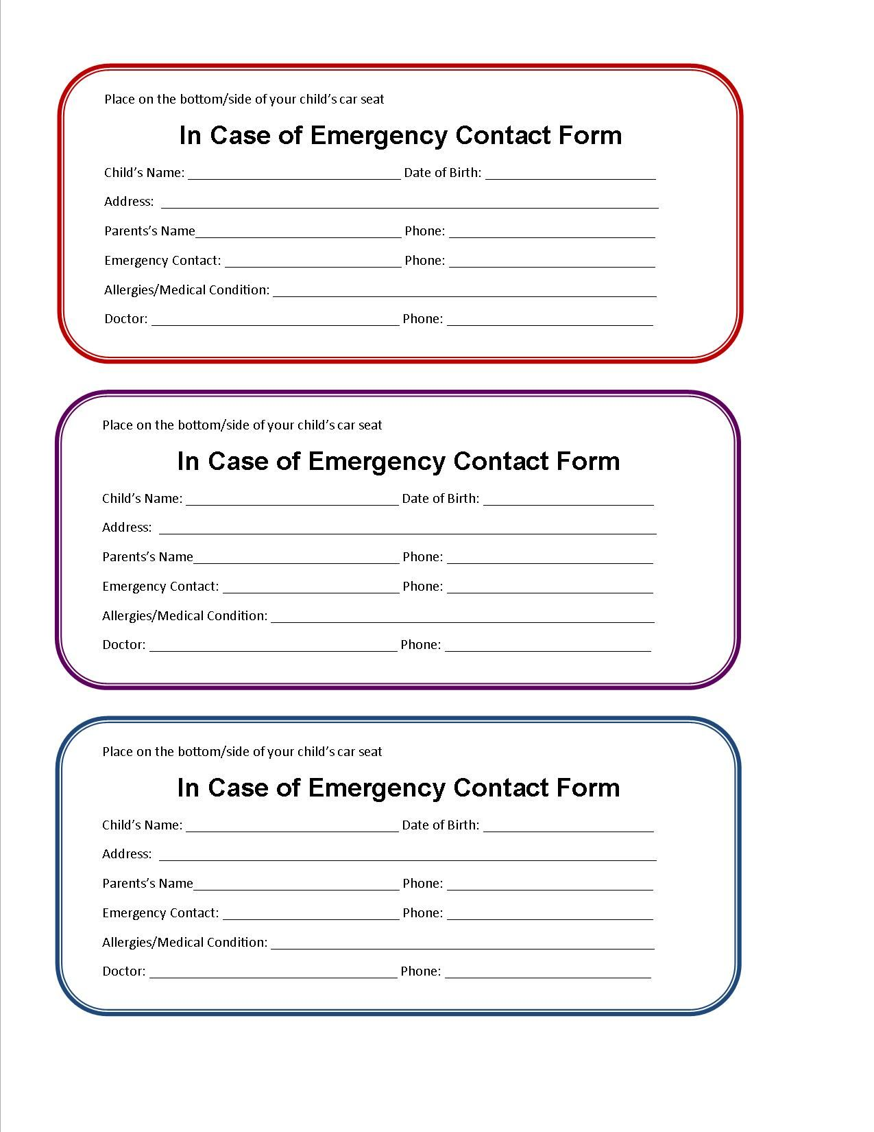 printable emergency contact form for car seat | Cub scouts