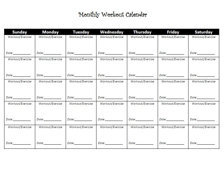 printable exercise calendar | 2 Lazy 4 the Gym