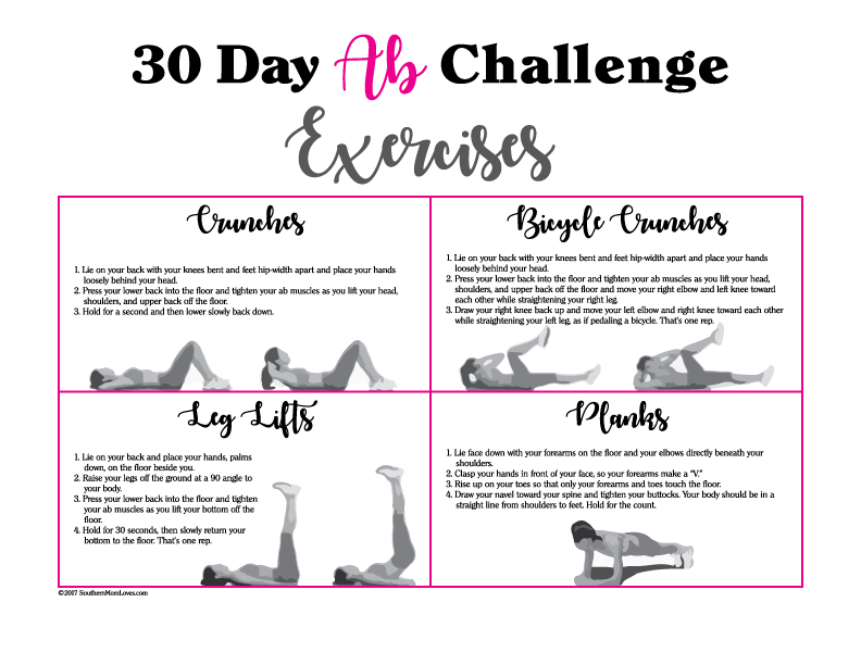 Southern Mom Loves: 30 Day Ab Challenge {with Calendar and
