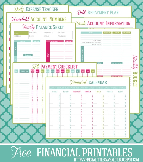 Free printable Financial Management Planners/Trackers   Money