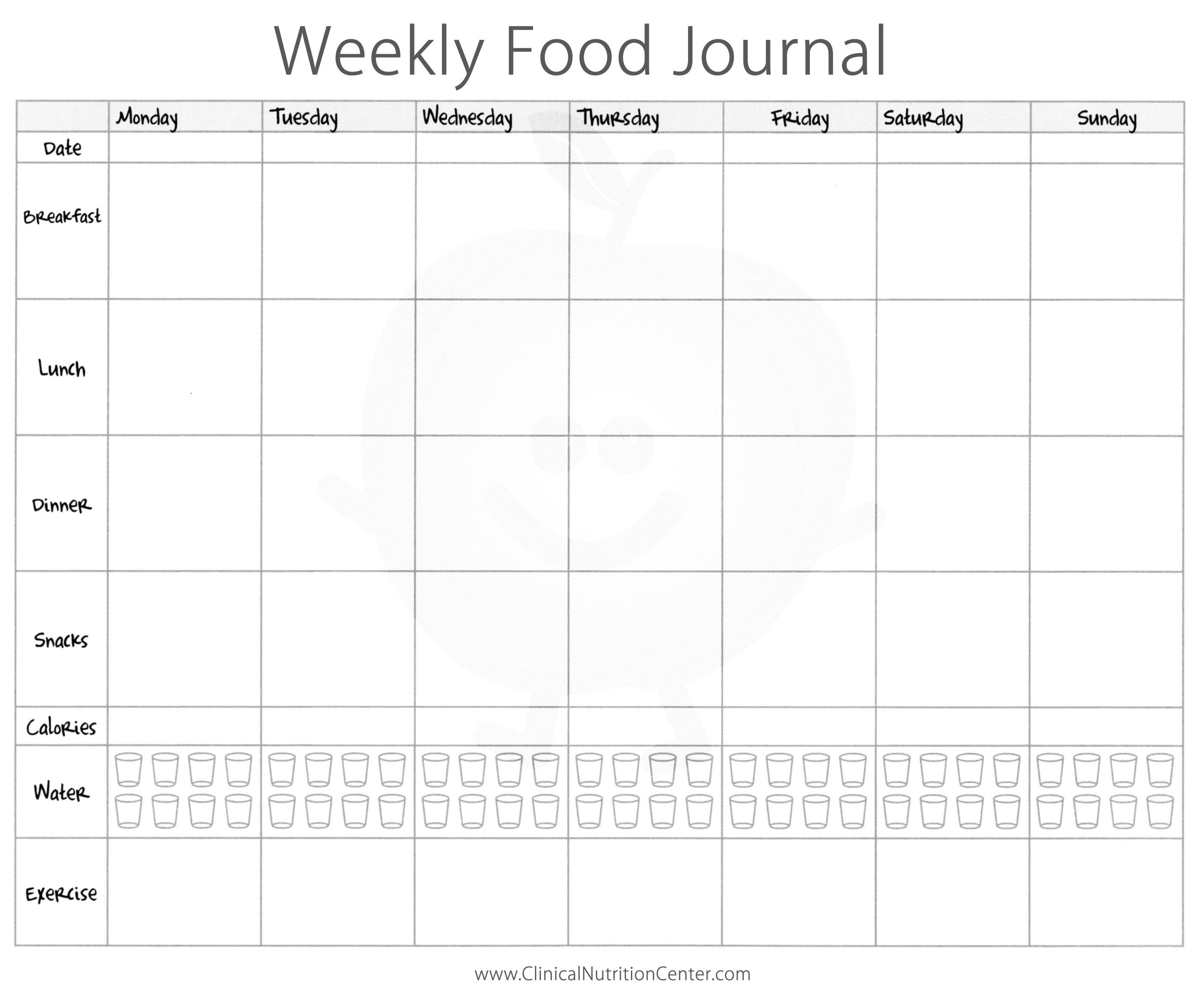 Food Diary Printable | Skakun Media