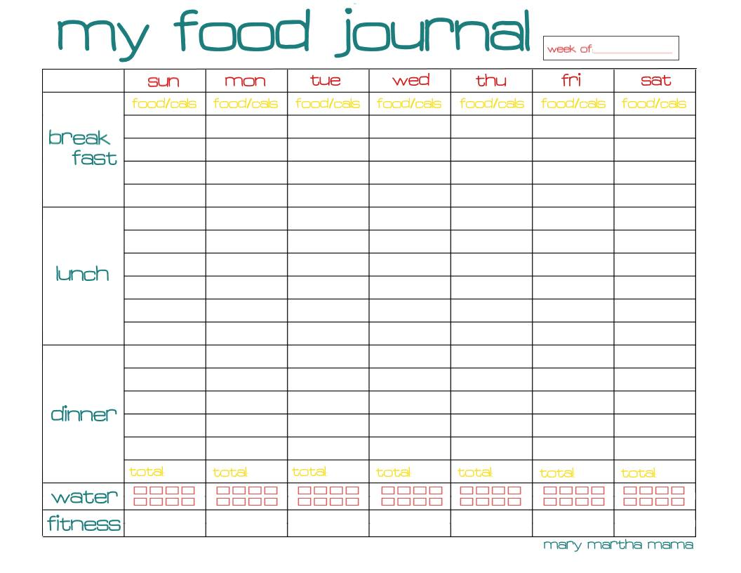 Free Food Journal Printable Healthy Mama Week 29 – Mary Martha Mama