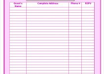 printable guest list editable wedding guest list template in word