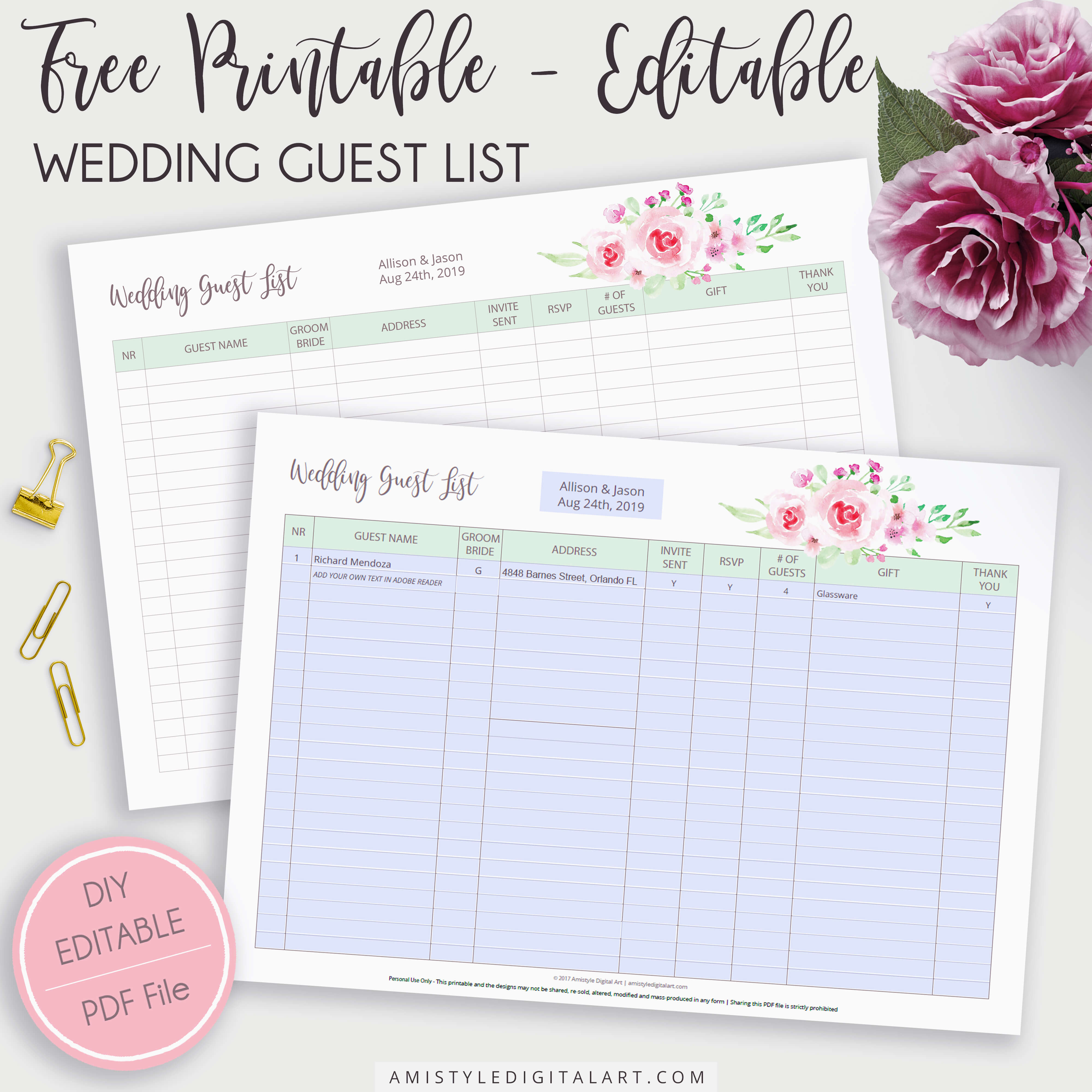 Free Editable Printable Wedding Guest List | Amistyle Digital Art