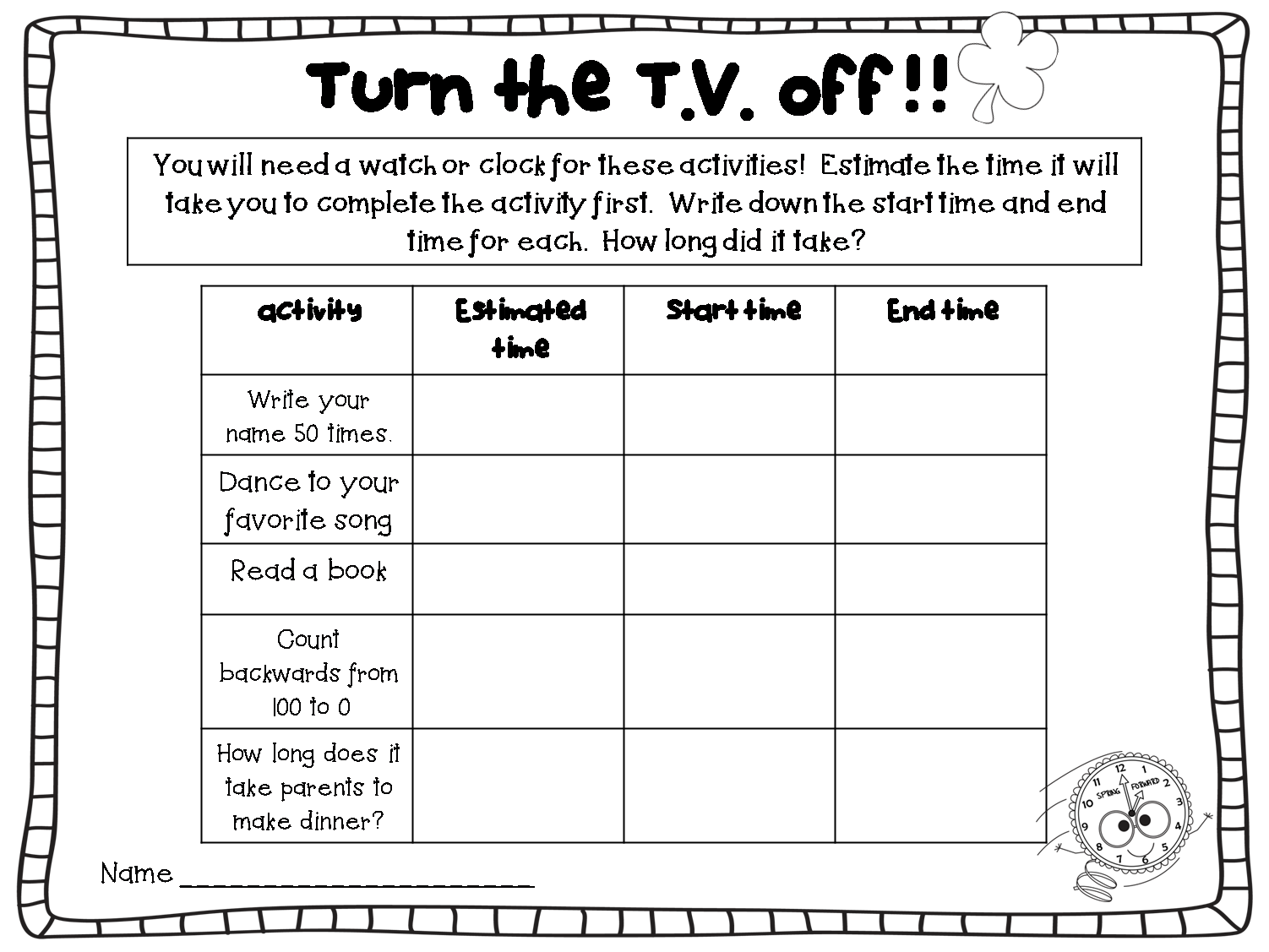 Printable Homework Sheet | room surf.com