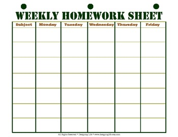 Weekly Homework Sheet Printable by Designing Life | TpT