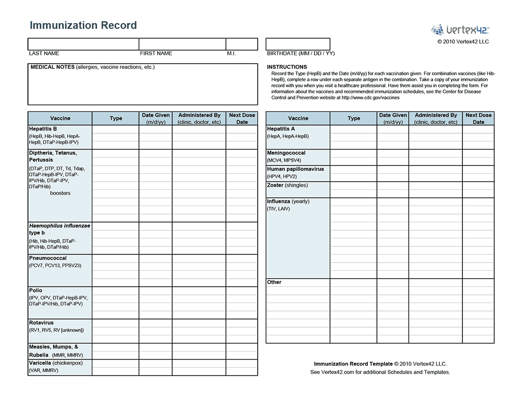 Free printable Immunization Record (PDF) from Vertex42.
