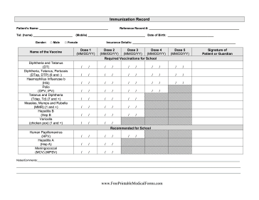 Printable School Immunization Record
