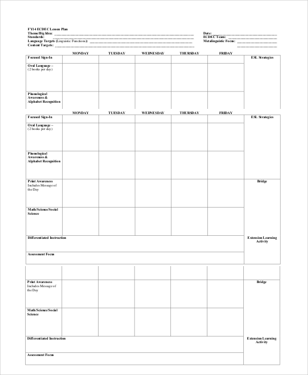 Printable Lesson Plan Template; Clear, Easy, ONE page | Teacher