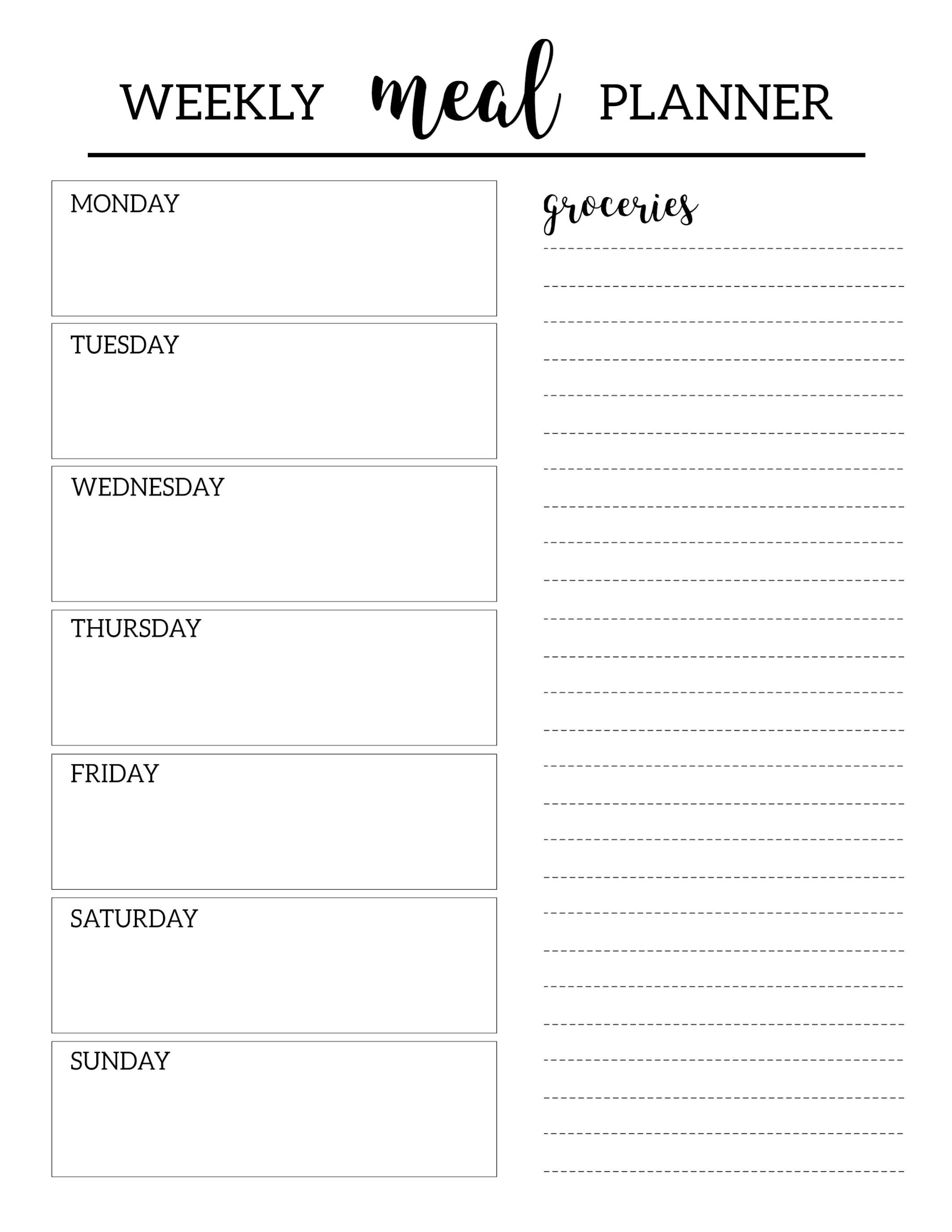 Free Printable Meal Planner Template   Paper Trail Design