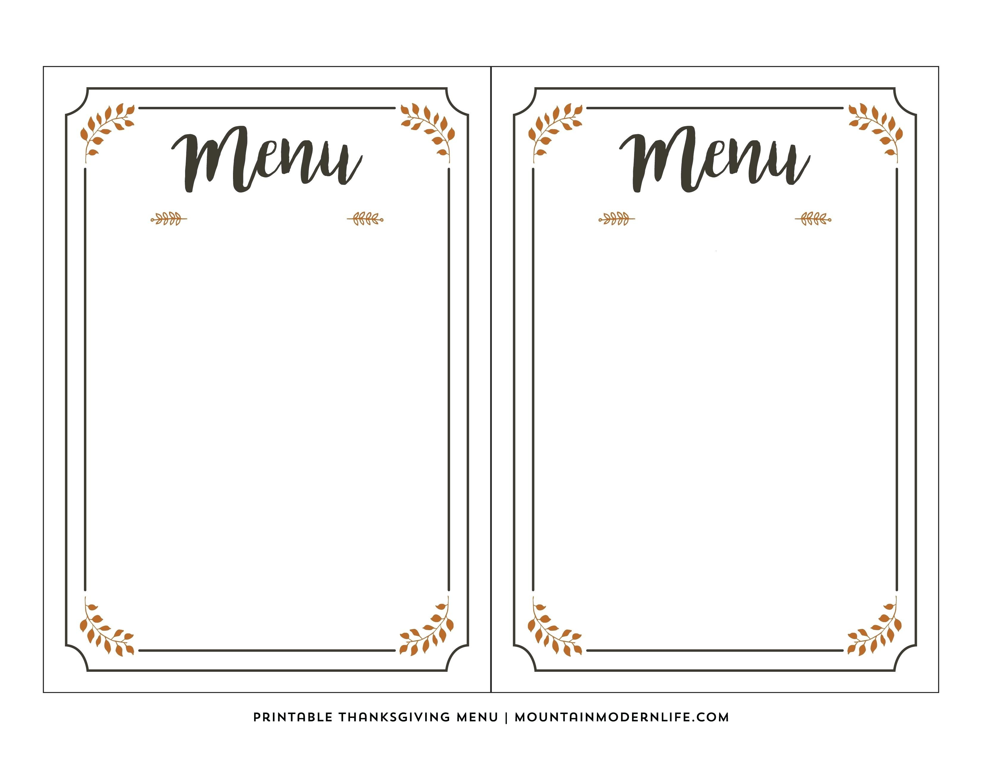 photo regarding Printable Menus named Printable Menus Template house