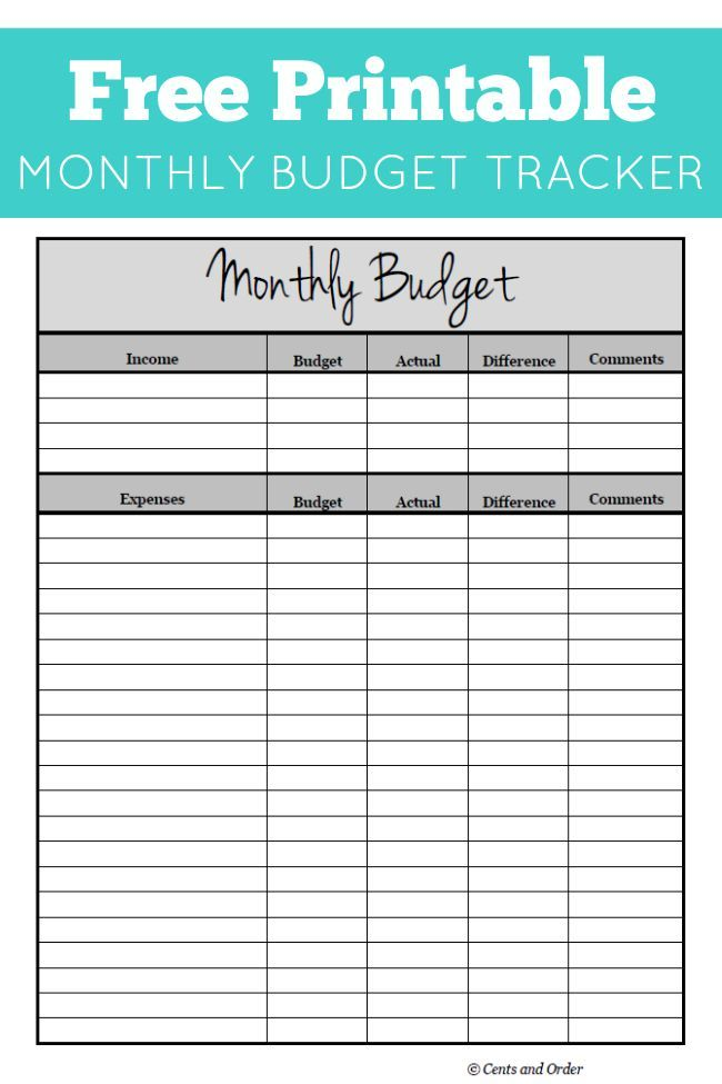 Free Monthly Budget Printable | DIY Ideas | Pinterest | Budgeting