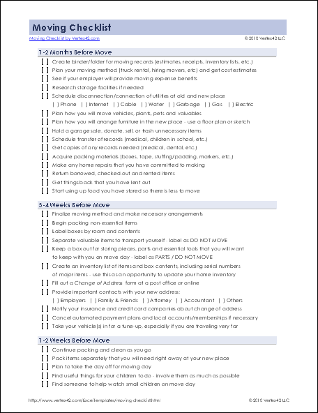 Detailed Moving Checklist   Printable Moving Checklist for Excel