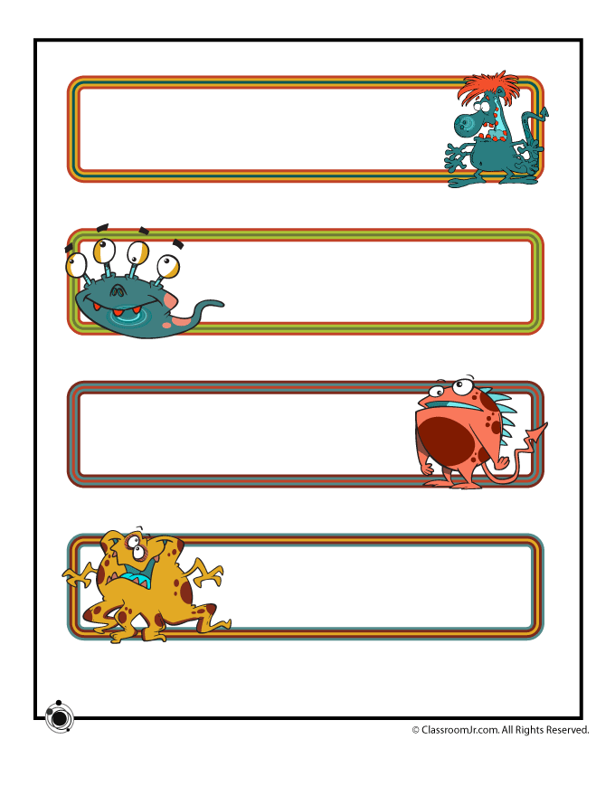 Printable Name Plates   Cute Monsters | Woo! Jr. Kids Activities
