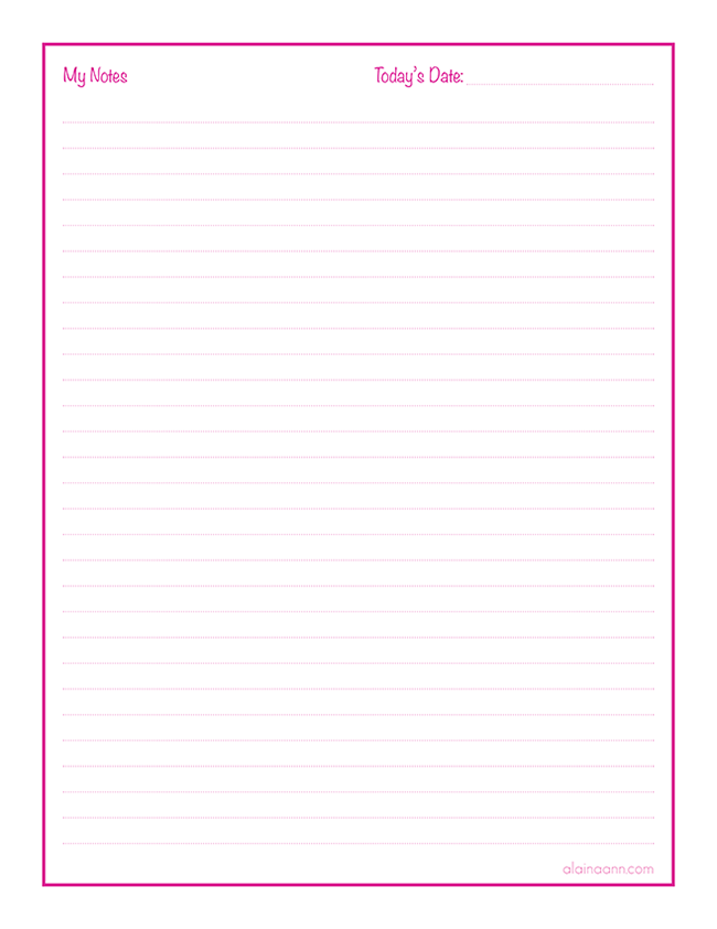 Notes Page :: Organized Life Free Printable :: Alaina Ann