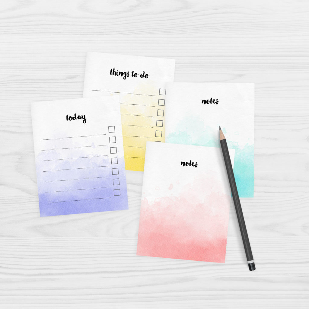 Free printable watercolour note paper   mini size   great for planners
