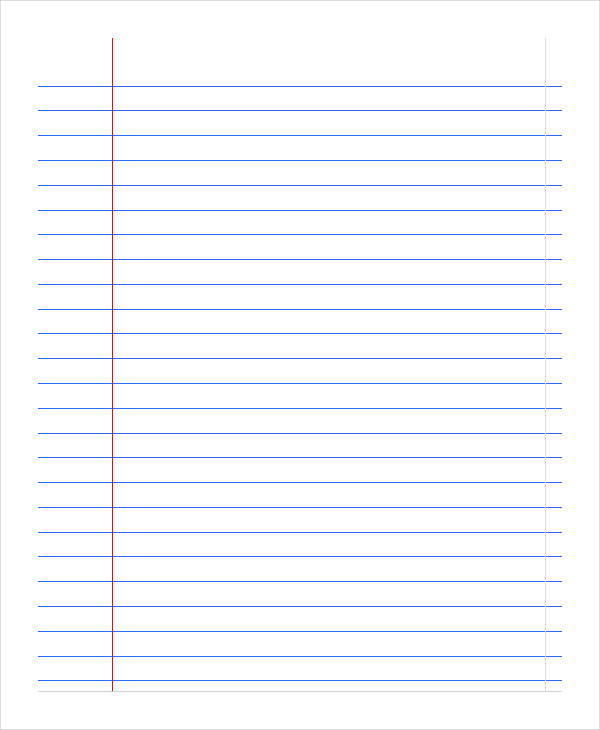 Printable Notebook Paper   9+ Free PDF Documents Download   Free