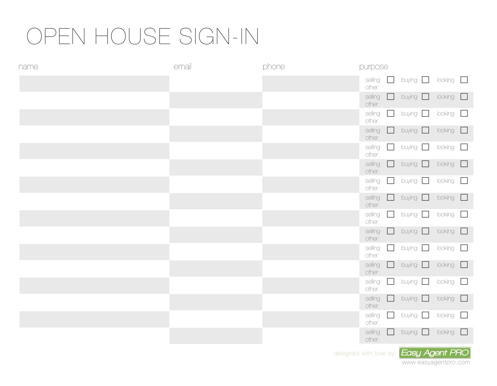 3 Free Real Estate Open House Sign in Sheet Templates