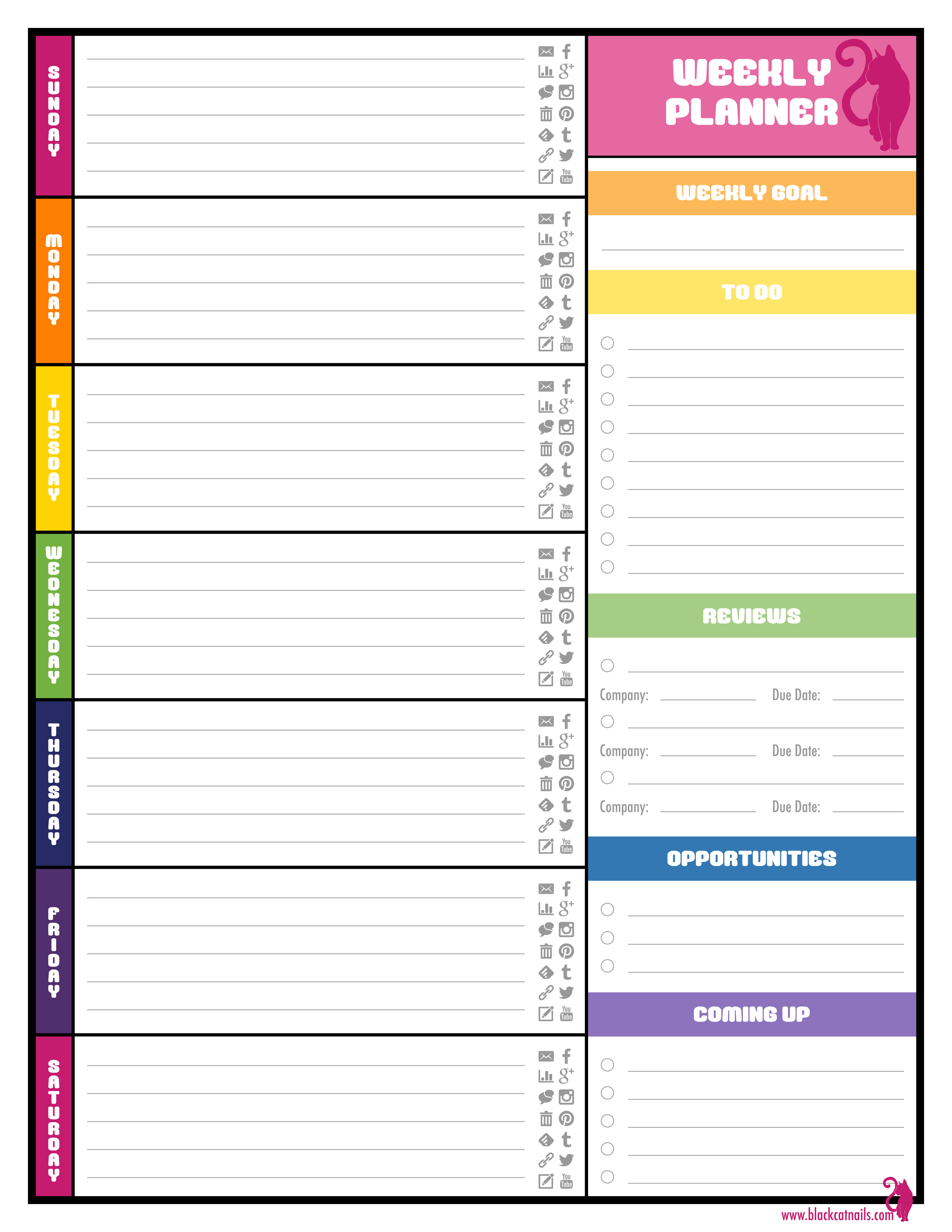 Colorful Weekly Blogging Planner Image | Blog Life | Pinterest