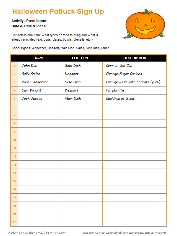 Potluck Sign Up Sheet   Free to Print