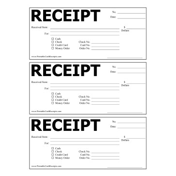 Free Printable Receipt Templates | Free Printable Cash Receipts