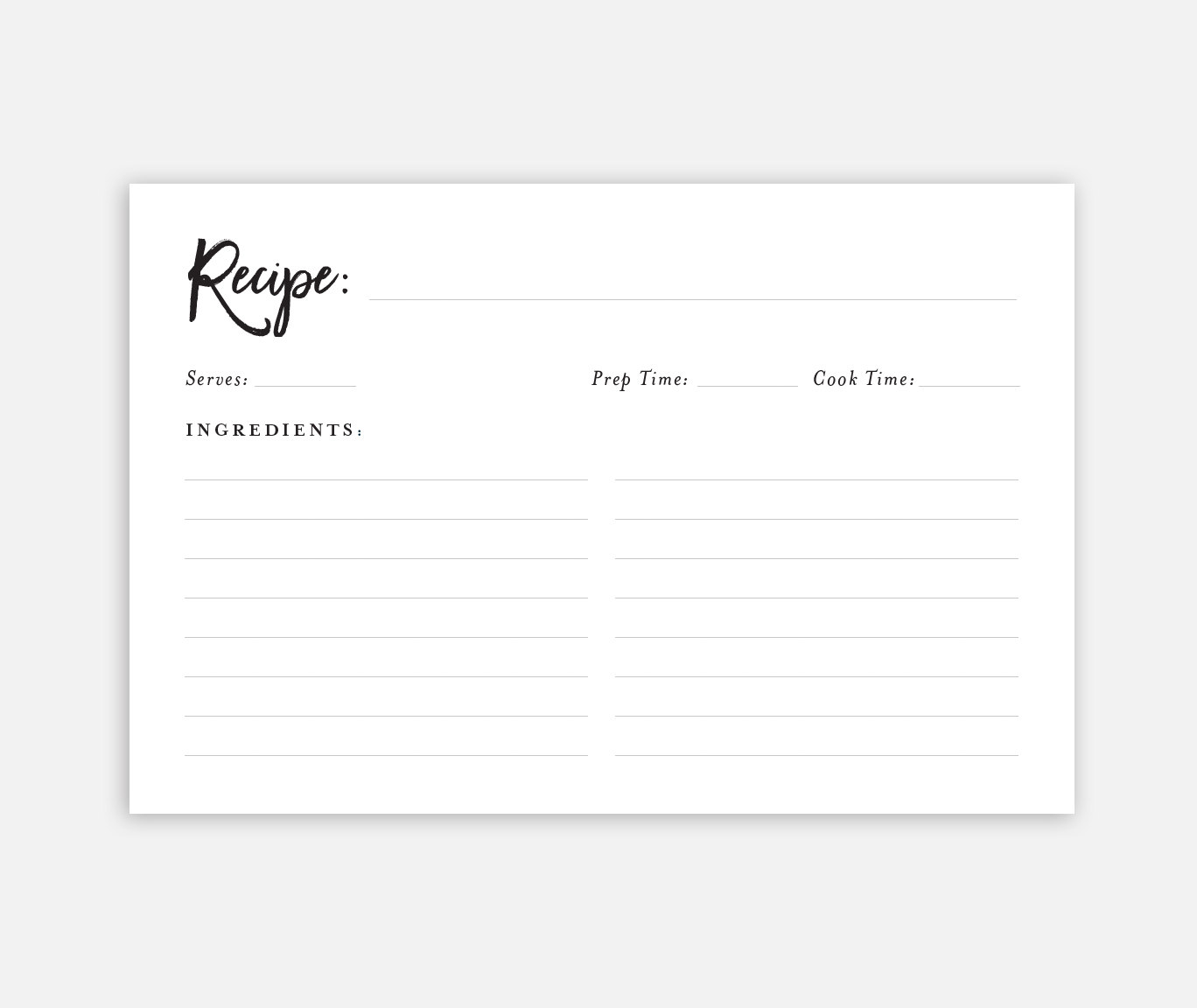 Recipe Card Free Printable | Recipe cards, Free printable and Recipes
