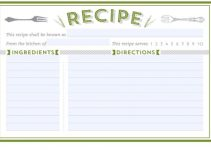 printable recipe card template green forks