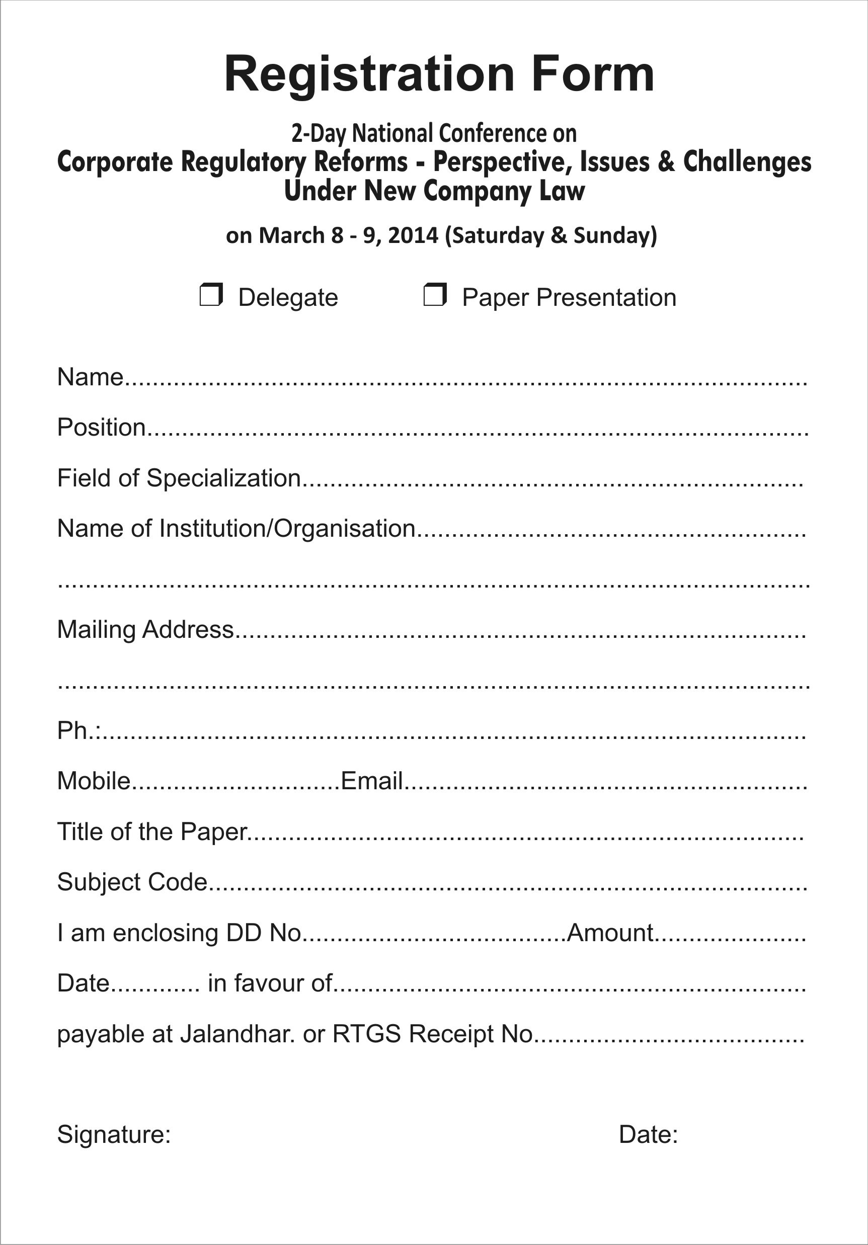 photo regarding Printable Registration Form Template Word named Printable Registration Kind Template place