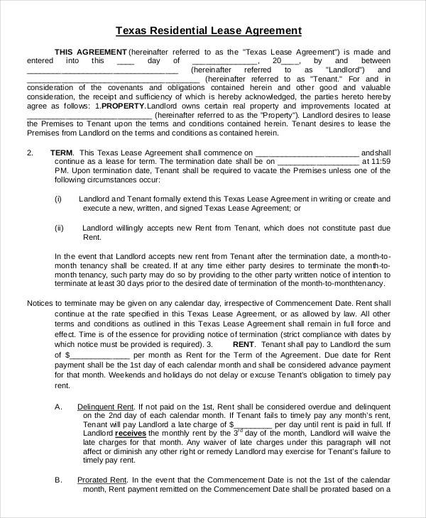 Printable Residential Lease Agreement   13+ Free Word, PDF