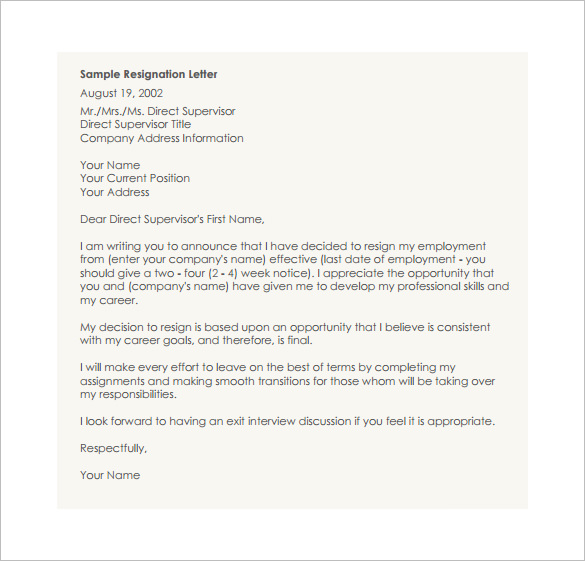 23+ Resignation Letter Templates   Free Word, Excel, PDF, iPages