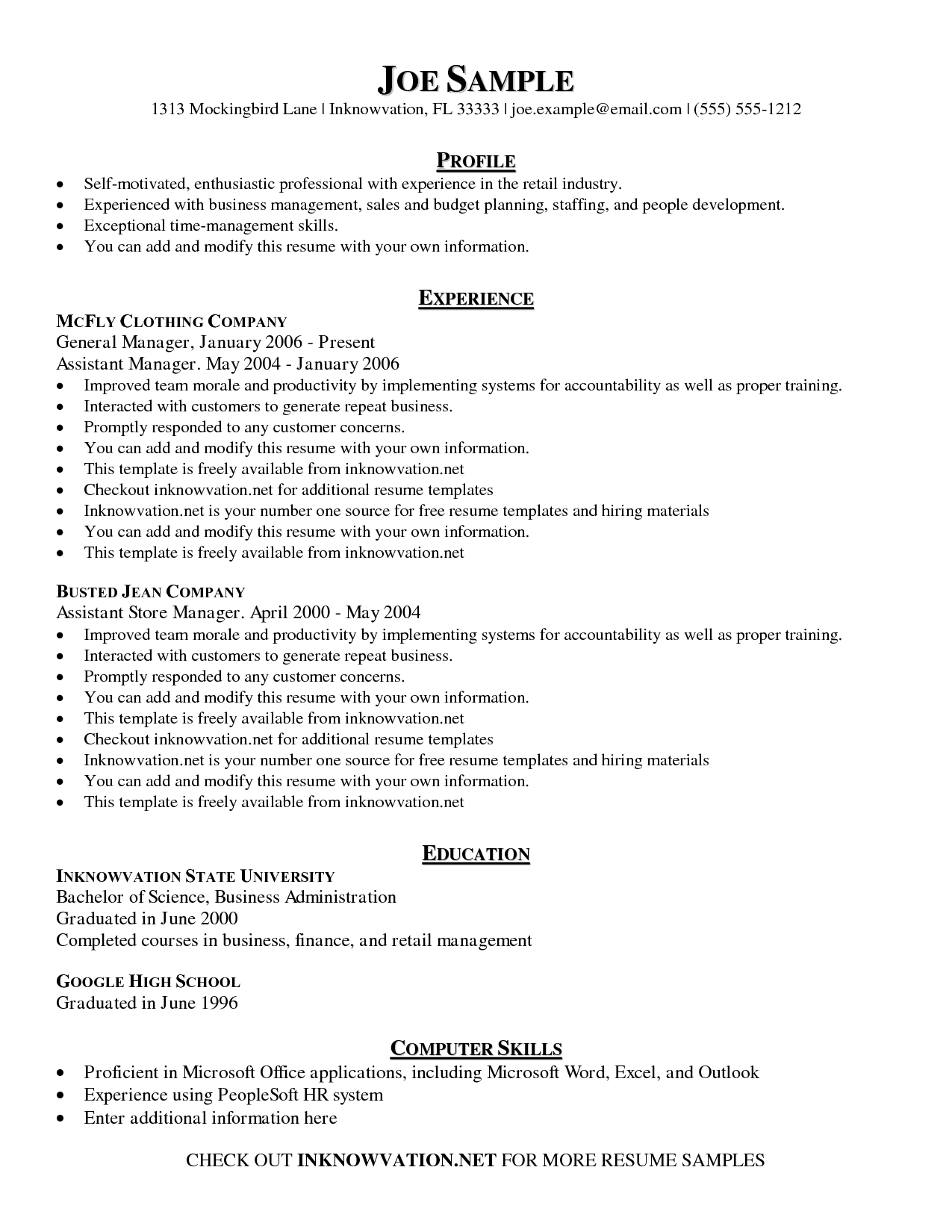 Printable Sample Resume Room Surf Com