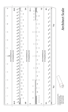 Architect Scale 12 inch Ruler   Printable Ruler