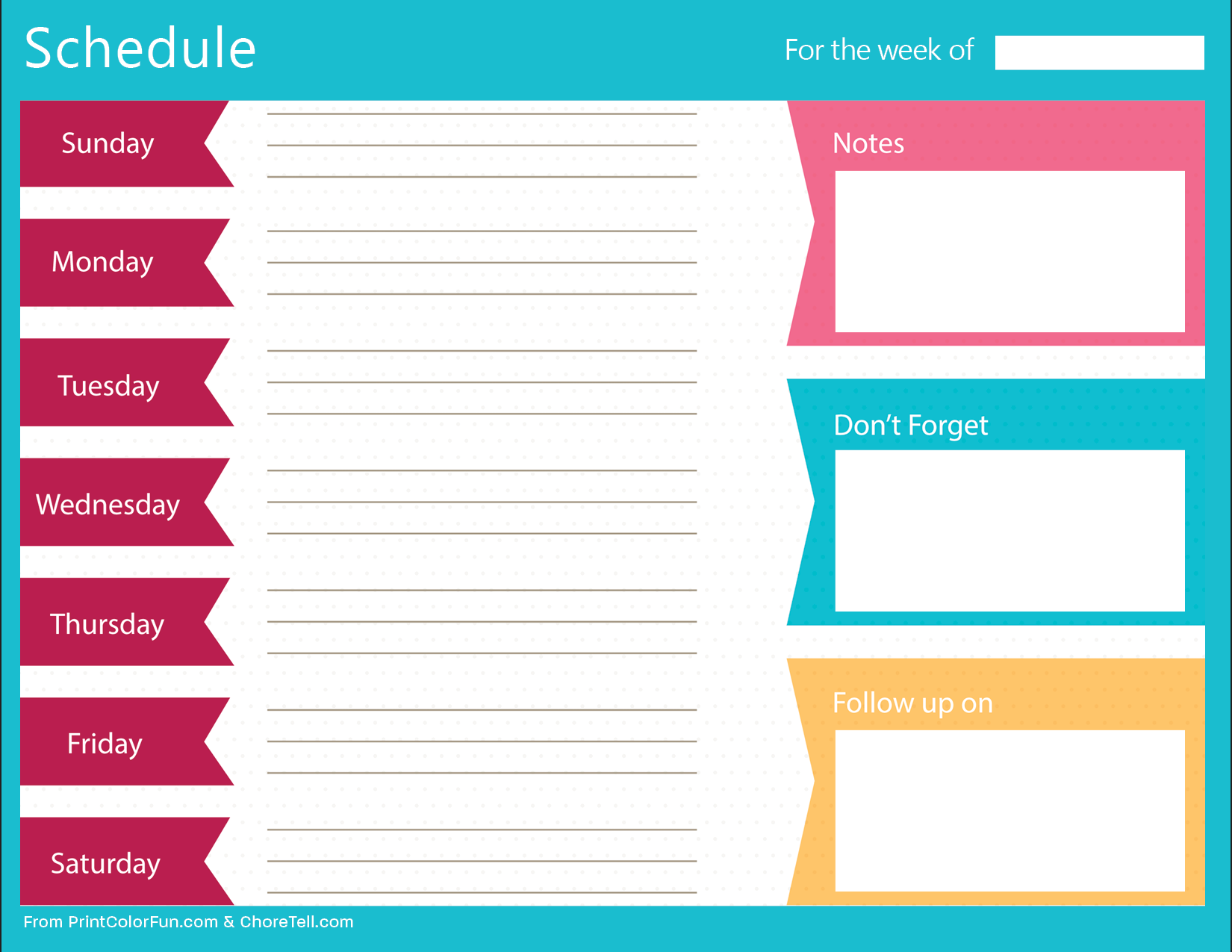 Clean, bold printable weekly schedule planner   Free printable