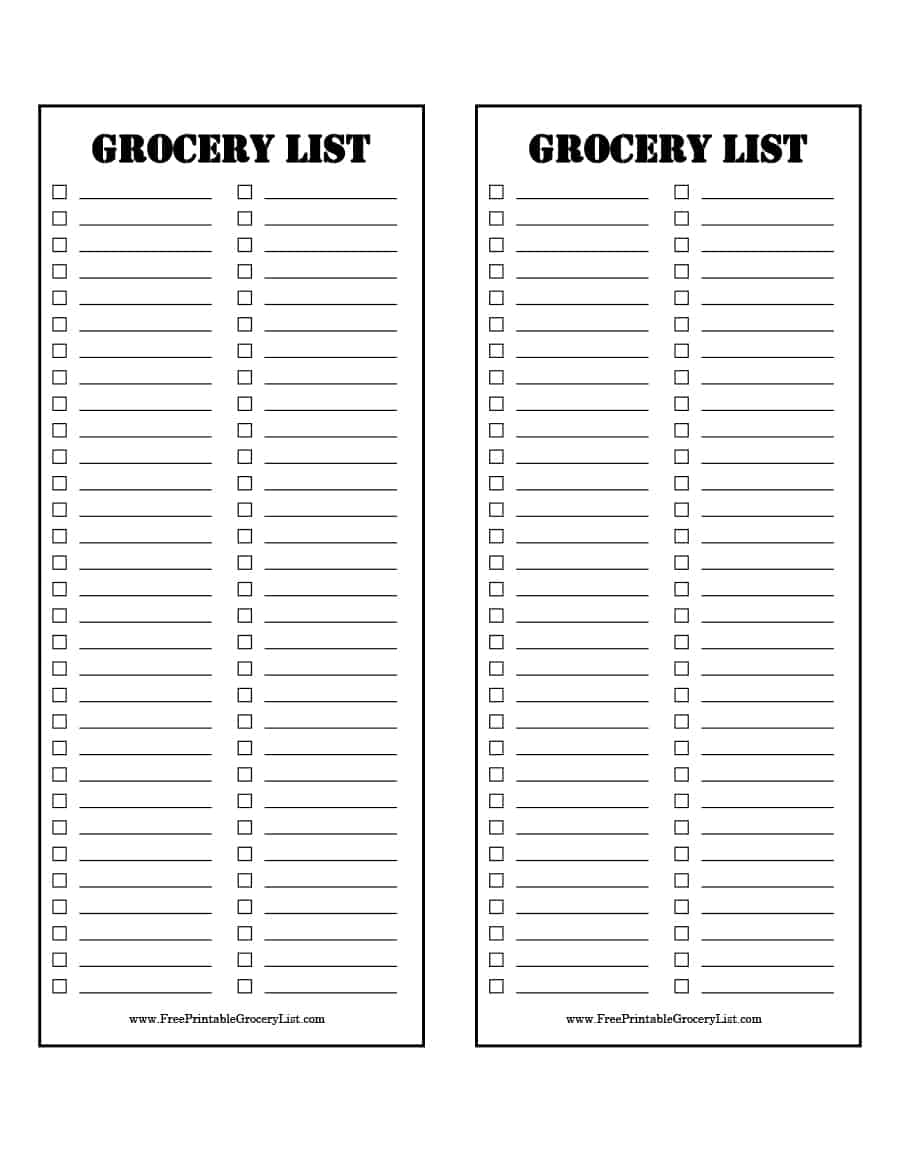 40+ Printable Grocery List Templates (Shopping List)   Template Lab